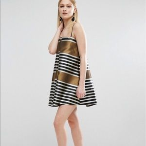 ASOS Gold geometric stripe print dress
